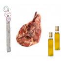 Pack Olivenöl Virgen Extra + Salchichon VELA + Serrano Schinken
